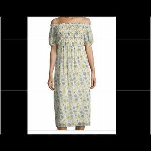 Mac Studio Smocked- Bodice floral print midi dress